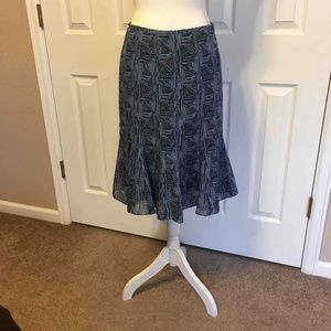 LOFT blue and black flared skirt